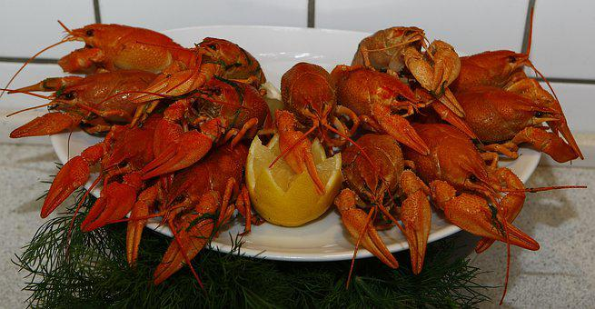 Crayfish, Cooked, Seafood, Lemon, Dining, Food