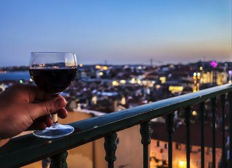Wine, Lisbon, Enjoy, City, Evening, Twilight, Rest