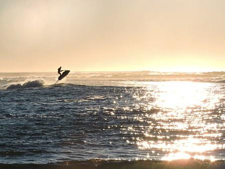 Jet Ski, Jumping, Ocean, Water, Jet, Fun, Silhouette