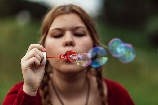 Soap Bubble, Girl, Pigtail, Braided Hair, Braid, Soap
