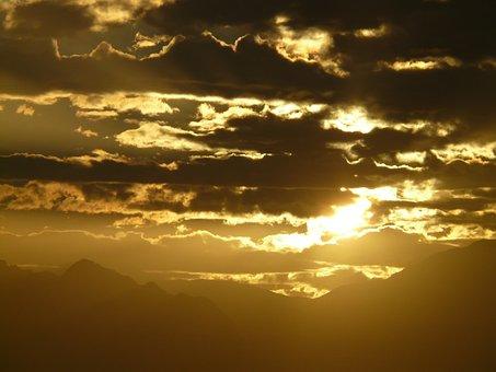 Sunset, Sun, Golden, Mountains, Taurus Mountains
