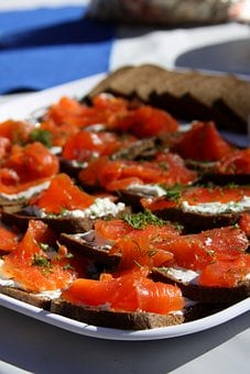 Hors D'oeuvres, Salmon, Dill, Toast, Cream Cheese, Food