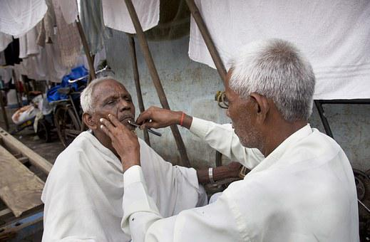 India, Man, People, Male, Shave, Parlour