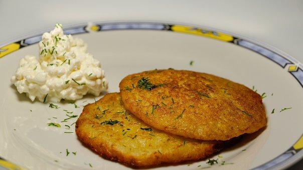 Potato Pancakes, Latkes, Fried, Meal, Food, Dish, Cream