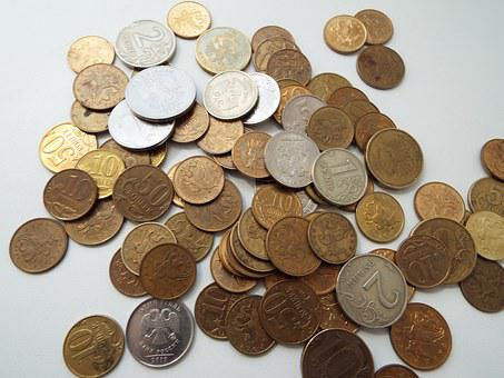 Coins, Handful, Ruble, Russia, Kopek, Wealth, Money