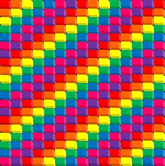 Rainbow, 3d, Cubes, Red, Orange, Yellow, Green, Blue