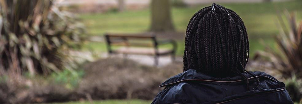 Girl, African Braids, Back View, Park, Solitude