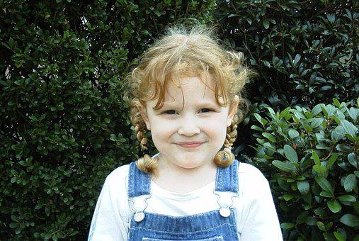 Child, Girl, Pigtails, Braids, Overalls, Cute, Grin