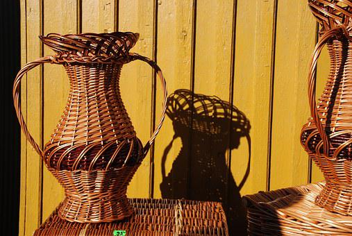 Basket, Rattan, Braid, Manual Labor, Crafts, Brown