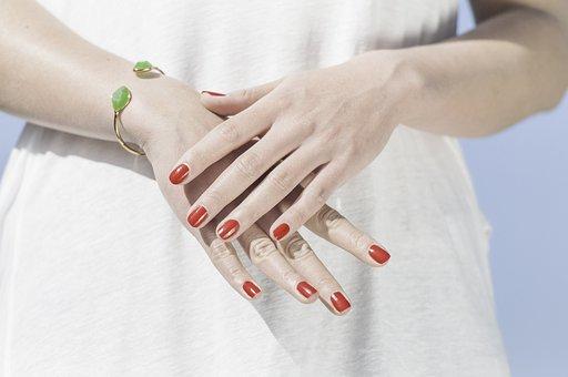 Hands, Fingernails, Finger, Lacquered, Manicure, Red