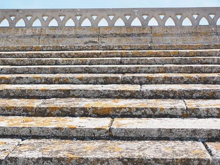 Gradually, Stairs, Rise, Roof, Railing, Stone Steps