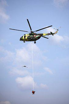 Helicopter, Rope, Load, Rescue, The Sky