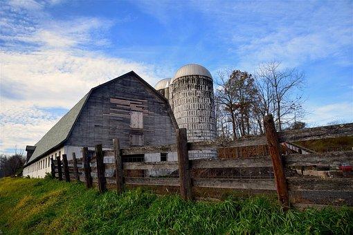 Barn, Farm, Silo, Rural, Farming, Country, Sky