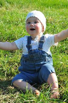 Small Child, Arms Raised, Meadow, Cap, Sun