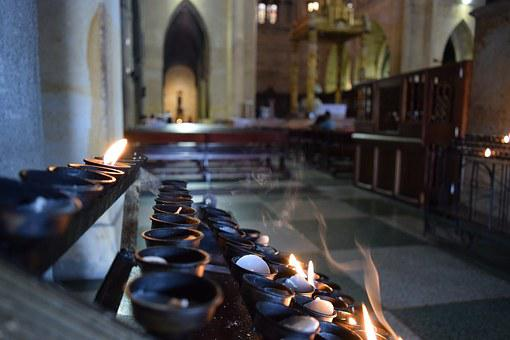 Church, Candles, Fire, Smoke, Perspective, Cathedral