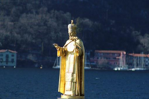 Statue San Nicola, Statue, Metal, Yellow, Lecco, Santo