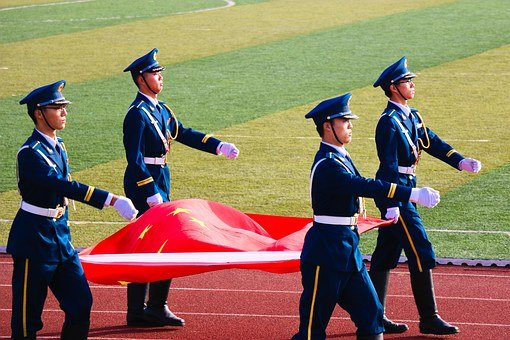 The National Flag, Soldier, The Flag-raising, China
