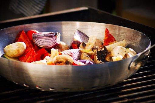 Bbq, Vegetables, Pepper, Onion, Mushrooms, Wok