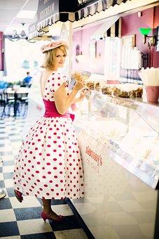 Vintage Ice Cream Parlor, Pretty Young Woman, Vintage