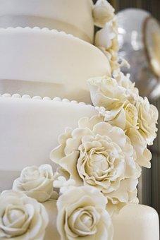 Wedding, Cake, Roses, Wedding Cakes, Sweet, Food, White