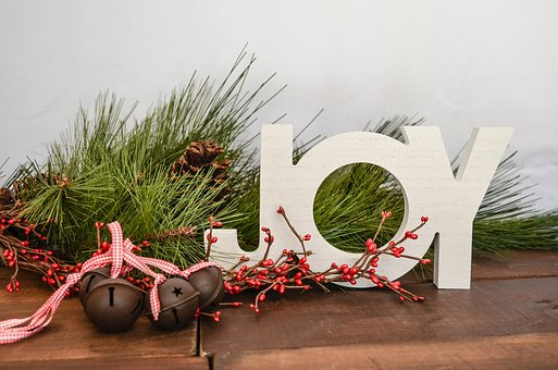 Christmas, Joy, Bells, Word, Holidays, Pine Branches
