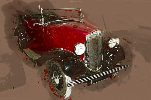 Car, Drawing, Vehicle, Brown, Red, Automobile