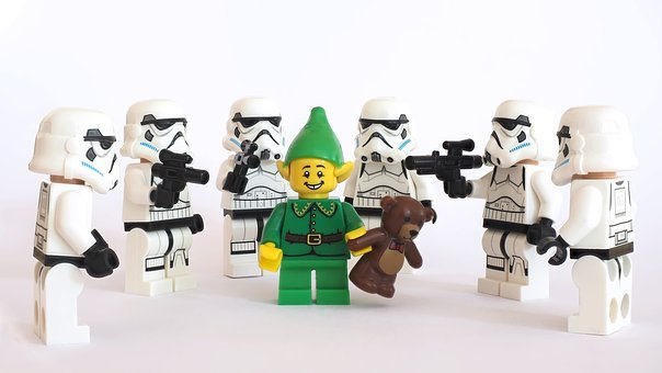 Lego, Storm, Trooper, Pixie, Elf, Christmas, Teddy