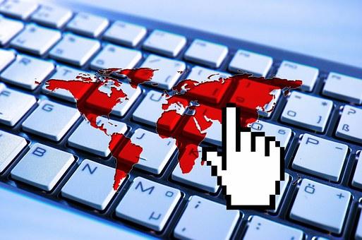 Earth, Continents, Computer, Cursor, Hand, Finger