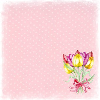 Floral, Pink, Dotted, Background, Tulip, Tag, Soft