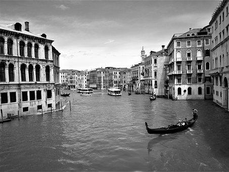 Gondola, Channel, Venice, Architecture, Buildings