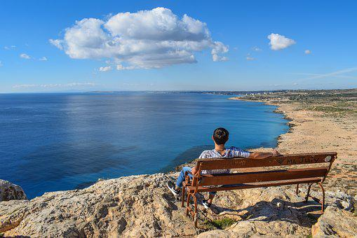 Gazing At Sea, Boy, Bench, Sea, Horizon, Infinity Blue