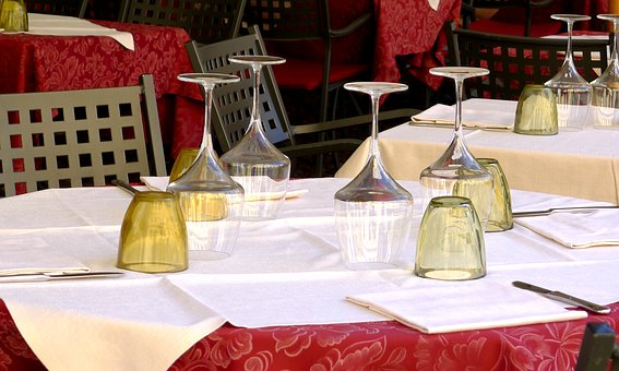 Table, Dining, Restaurant, Tablecloth, Italy, Glass