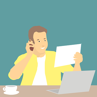 Using Phone, Men, Adult, Document, Working, Telephone