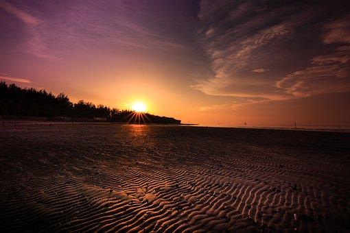 The Beach, Sunset, Sand, Background, The Sea, Sunrise
