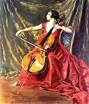 Violin, Music, Woman Playing Violin, Painting, Brunette