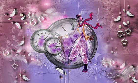 Wallpaper, Decoration, Color, Abstract, Clock, Clown