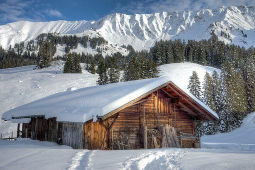 Mountains, Hut, S, Alpine, Alm, Alm Hut, Winter