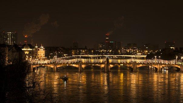 Basel, Rhine, Rheinbrücke, Middle Bridge, At Night