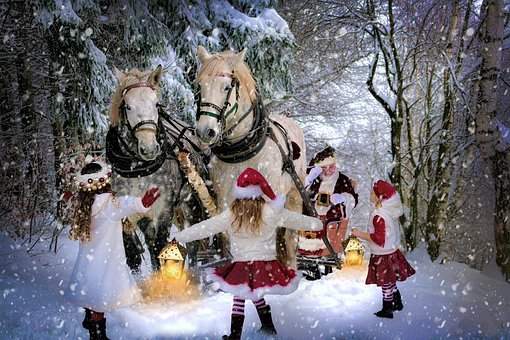 Father Christmas, Christmas, Snow, Winter, Child