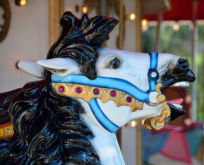 Merry Go Round, Painted Horse, Ride, Children, Carousel