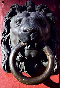 Thumper, Lion Head, Doorknocker, Input, Old, Metal