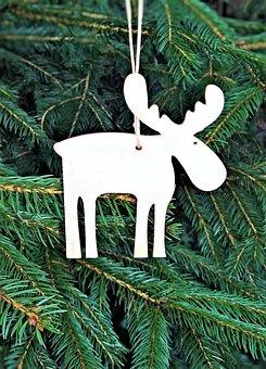 Christmas Tree, Moose, Christmas, Holzfigur, Fretwork
