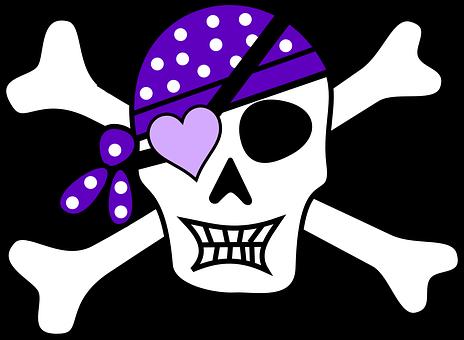 Pirate, Skull, Purple, Skullcap, Girl, Gothic