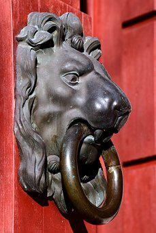Thumper, Lion Head, Doorknocker, Input, Old, Metal