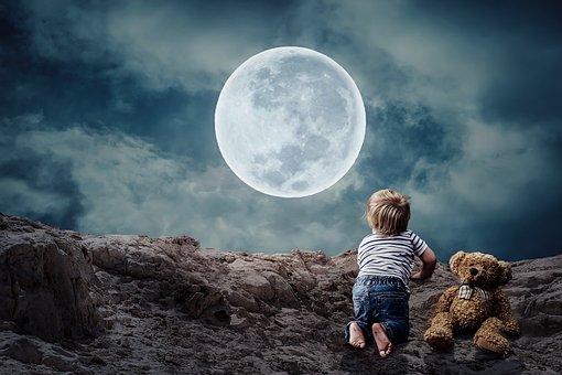 Good Night, Small Child, Little Boy, Teddy Bear, Moon