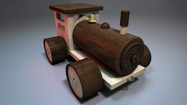 Wood, Train, Toy, Brown, 3d, Little Train, Locomotive