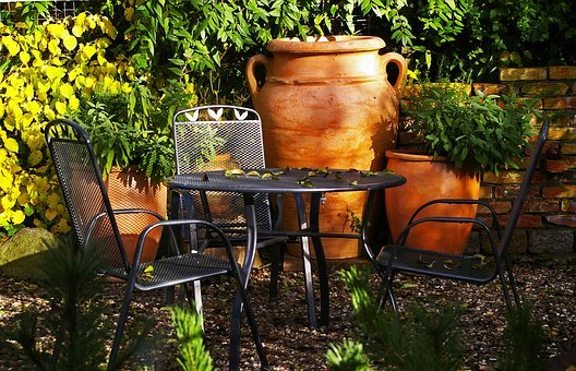 Mediterranean, Garden, Autumn, Seating Area
