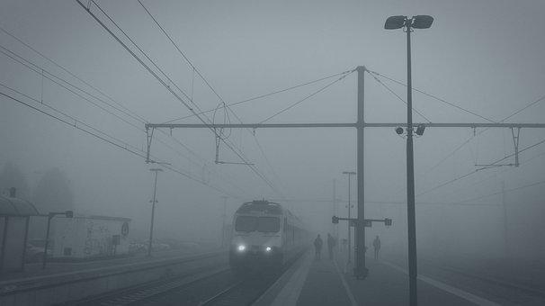 Train, Brouillard, Morning, Cinematic, Atmosphere