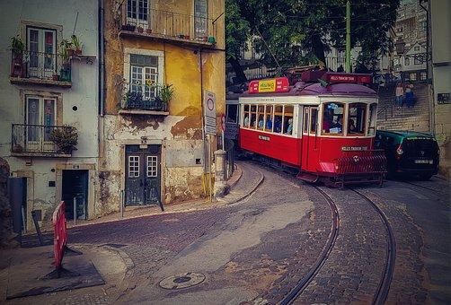 Lisbon, Tram Streetcar, Tram, Portugal, Old Town