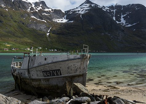Fjords, Fjord, Water, Mountains, Snow, Ship